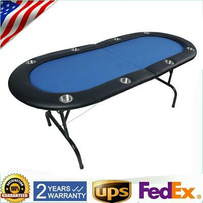 8 Player Poker Table Folding Legs Texas Holdem Poker Table Top Cup Holder