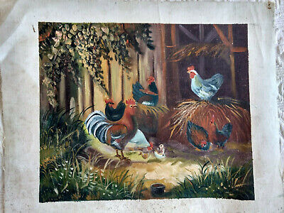 Unframed Canvas Oil Painting Set Of Two Rooster Farm Barnyard Green Brown Gold