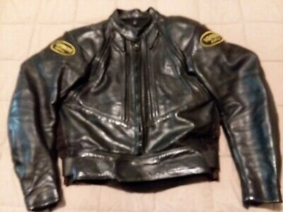 bfb338c1fe13 Vanson Black Leather Sport Racer Motorcycle Jacket size 42 excellent cond