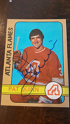 1972-73 Opc Signed Card Pat Quinn Flames Canucks Maple Leafs Flyers Kings # 183