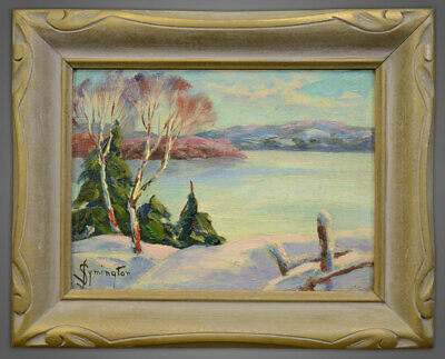 Juanita Le Barre Symington (1904-1980) Oil Winter Haystack Bay Ontario