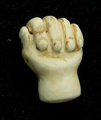 Ancient  White Jade Bactrian Hand Shape Carved Amulet Hand Of Hope Bead Pendant