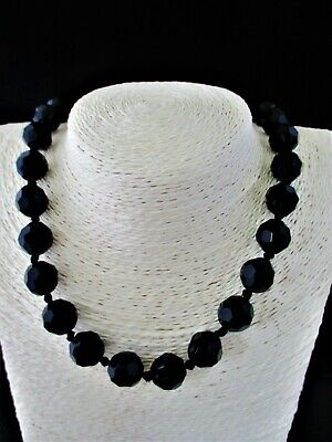 """Antique Victorian French Jet Faceted Bead Necklace Length 20"""""""