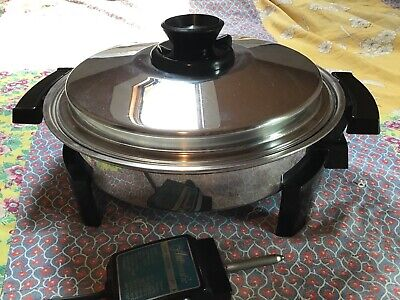 "USA( West Bend?) 11"" 17884 Liquid Core Electric Skillet Stainless Steel Cookware"