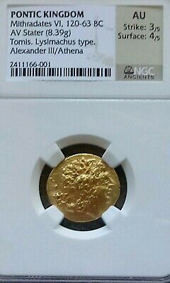 Pontic Kingdom Mithradates Stater NGC AU 3/4 Ancient Alexander The Great Coin