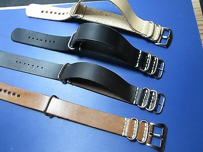 22mm - Nato Zulu Strap Leather cuero Correa Reloj Pulsera Watch band