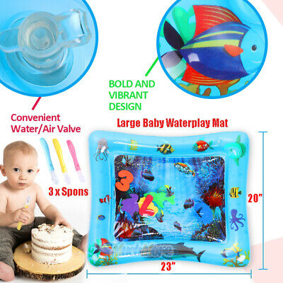 Inflatable Baby Water Mat w/ Feeding Spoons for Kids Children Infants Tummy Time