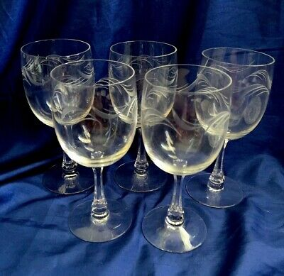 Wine Glasses Water Goblets Elegant Crystal Etched Set of 5 Vintage