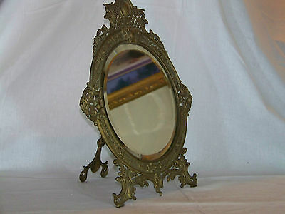 Bradley & Hubbard Antique c19th C Easel & Wall Hang Beveled Glass Ornate Mirror