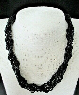 """Antique Victorian French Jet Choker Bead Necklace Length 16"""""""