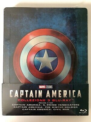 Captain America Trilogy Blu-ray Steelbook Italian Version Rare