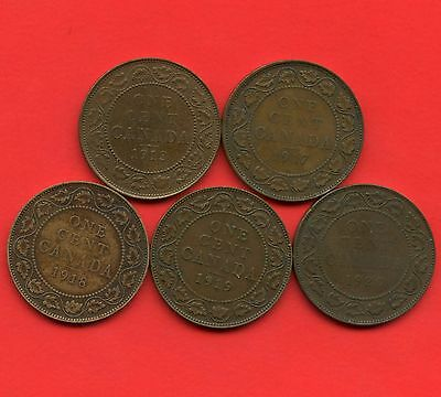 Canada 1913 1917 1918 1919 & 1920 Large Cent Coins