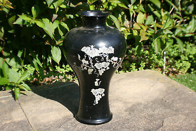 Oriental Chinese Metal Lacquer with Inlay Mother of Pearl Decoration Vase