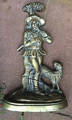 Antique Brass And Cast Iron Door Stop of a Man  With dog Rare