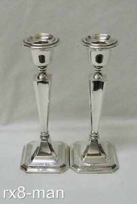 """Chester 1923 Superb Vintage Solid Silver Pair Of 7"""" High Tapering Candlesticks"""