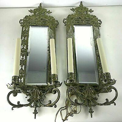 Pair of Victorian Brass Beveled Round Mirror Wall Sconces Figural Dolphin