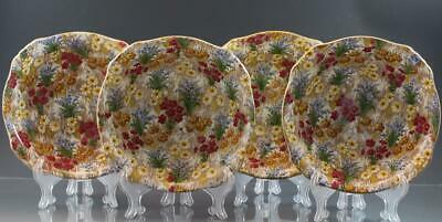 Vtg Royal Winton Grimwades Marguerite Chintz Pattern 4 Square Cereal Bowls