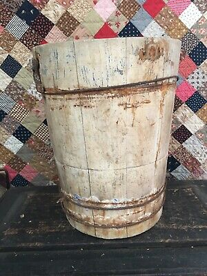Ohio Barn Fresh Primitive Antique Wood Bucket White Chippy Paint Over Blue Aafa