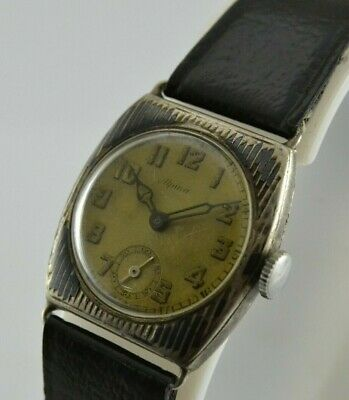 Vintage Alpina Military Art Deco Silver Case Cal 751 Hand Winding Men Watch