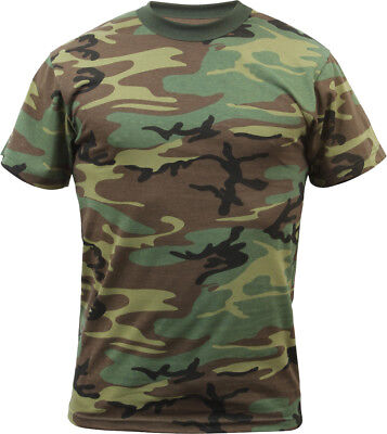 Mens Woodland Camo Tactical T-Shirt Military Army Green Camouflage Short Sleeve