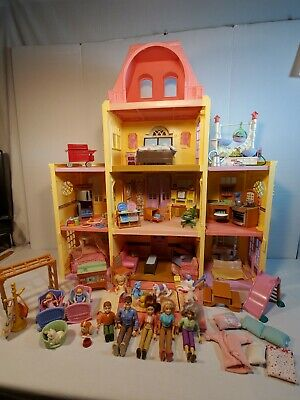 Fisher Price Loving Family Dollhouse TWIN TIME House 212 + dolls & accessories