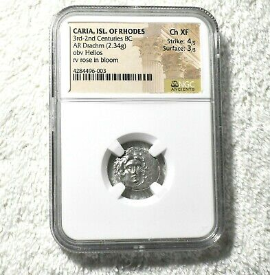 Ancient Greece, Rhodes, Helios, Silver Drachm, NGC Choice XF