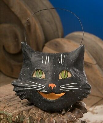 New Bethany Lowe Vintage Style Halloween Happy Black Cat Bucket Paper Mache