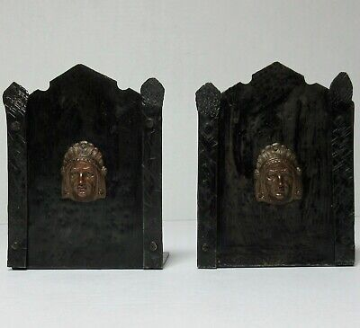 Arts & Crafts Period Hand Wrought Iron & Metal Pair INDIAN CHIEF BOOKENDS