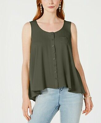 Style & Co $49 NWT Petite Button-Front Tank in Olive Sprig Green Size PP     D56