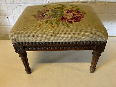 Antique 19th / 20th Century Louis XVI Style Footstool w/ Needlepoint Floral Top