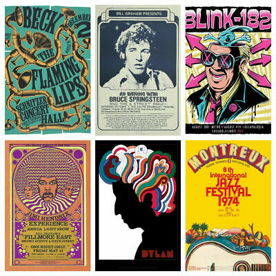 ICONIC MUSIC BAND GIG A4 POSTERS V1 Rock Vintage Bar Cafe Club BUY 2 GET 2 FREE