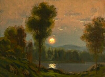 Oil Painting Landscape Original Western Art Antique Vintage Moon Lake MAX COLE