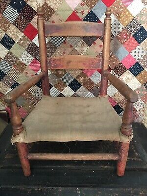Antique Primitive Child's Chair Early Red Paint Make Do Feedsack Rope Seat Aafa