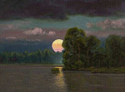 Oil Painting Landscape Western Art Antique Vintage Pink Cloud Moon MAX COLE