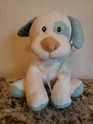 Amscan Dog Puppy Blue White Plush Stuffed Animal Lovey Eye Spot