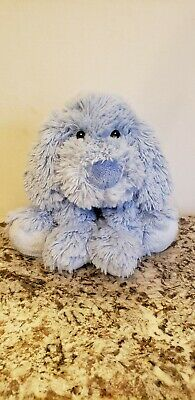 "HTF! First Impressions Blue Puppy Dog Baby Soft Toy Furry Shaggy Macys 9"" Plush"