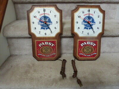 2 VINTAGE Pabst Blue Ribbon PBR Beer Solid Oak Wood Electric Wall Clocks 13.5""