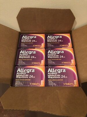 Allegra Allergy 24HR Tablets, 180Mg, Professional Sample Size 5 Ct - Lot Of 24