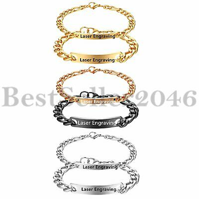 Couple Bracelets His and Hers Stainless Steel Personalized Custom Engraving 2pcs