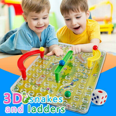 Traditional 3D Snakes Ladders Family Board Game Toy For Kid Gifts Night Fun
