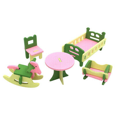 1 set/5pcs Baby Wooden Dollhouse Furniture Dolls House Miniature Child Play O8Z4