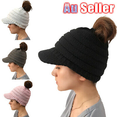 Women's Stretch Knit Beanie Skull Cap Cable Soft Ponytail High Bun Hat Winter