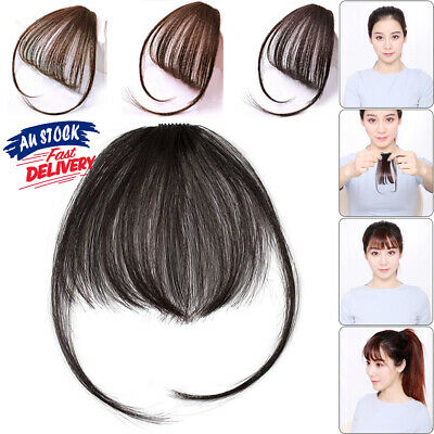 Thin Fringe on Hair Extensions Bangs Human Clip in Remy Front Hairpiece Air Neat