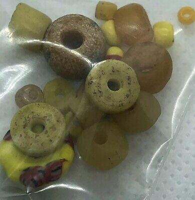 15 Yellow Ancient & Medieval Glass Bead Mixed Old Lot Roman, Venetian, Byzantine