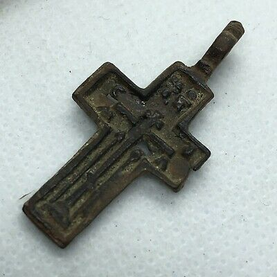 Pre-1750's Byzantine Cross Artifact Medieval European Russian Orthodox Pendant!!