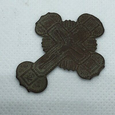 1700-1800's Byzantine Cross Artifact Skull European Russian Orthodox Pendant