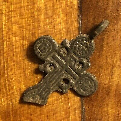 Pre-1750's Byzantine Cross Artifact Medieval European Russian Orthodox Pendant /
