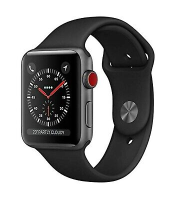 NEW APPLE WATCH SERIES 3 GPS + CELL 38mm SPACE GRAY W/ BLACK SPORT BAND MTGH2LLA