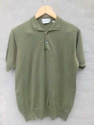 Vtg 50s 60s Sz S Italy H Herzfeld Green Cotton Polo Shirt AS IS Mid Century