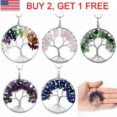 Mixed Chip Bead Handmade Tree Of Life Pendant Wrap Crystal Quartz Healing Chakra